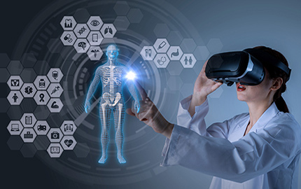 female doctor with virtual reality headset