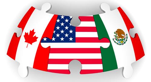 Puzzles avec des drapeaux du Canada, des États-Unis et du Mexique