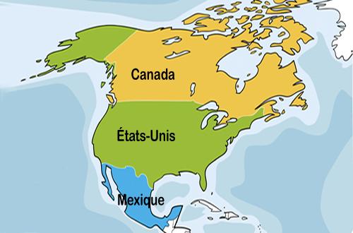 Carte du Canada, des États-Unis et du Mexique
