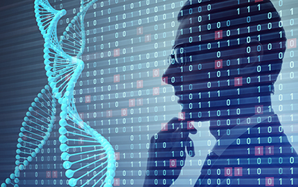 Genetic engineering and digital technology concept