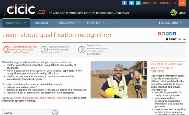 screenshot of Canadian Information Centre for International Credentials website