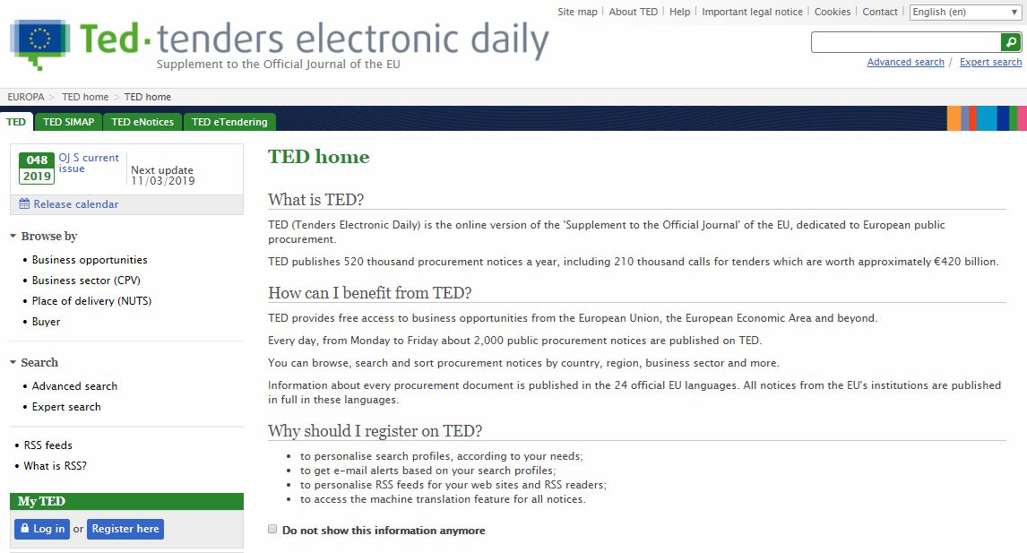 screenshot of TED database homepage