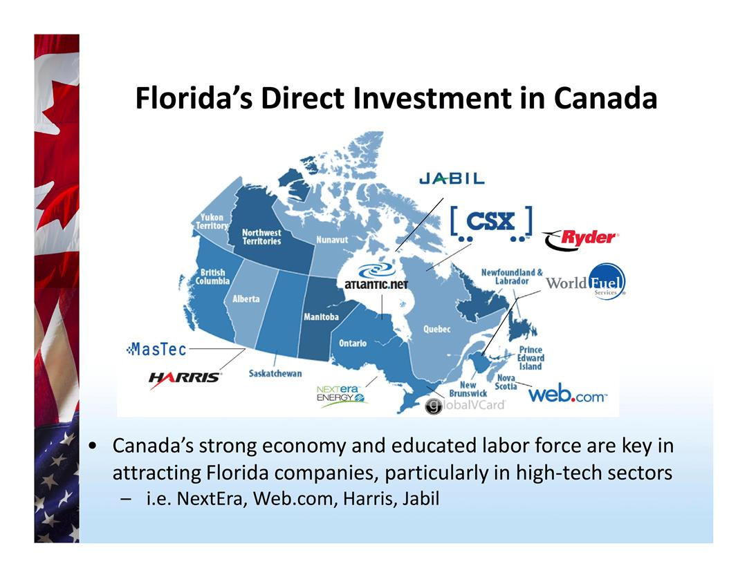 Florida Direct Investment Numbers in Canada Poster