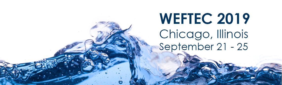 Banner for the WEFTEC 2019 event on September 21-25, 2019