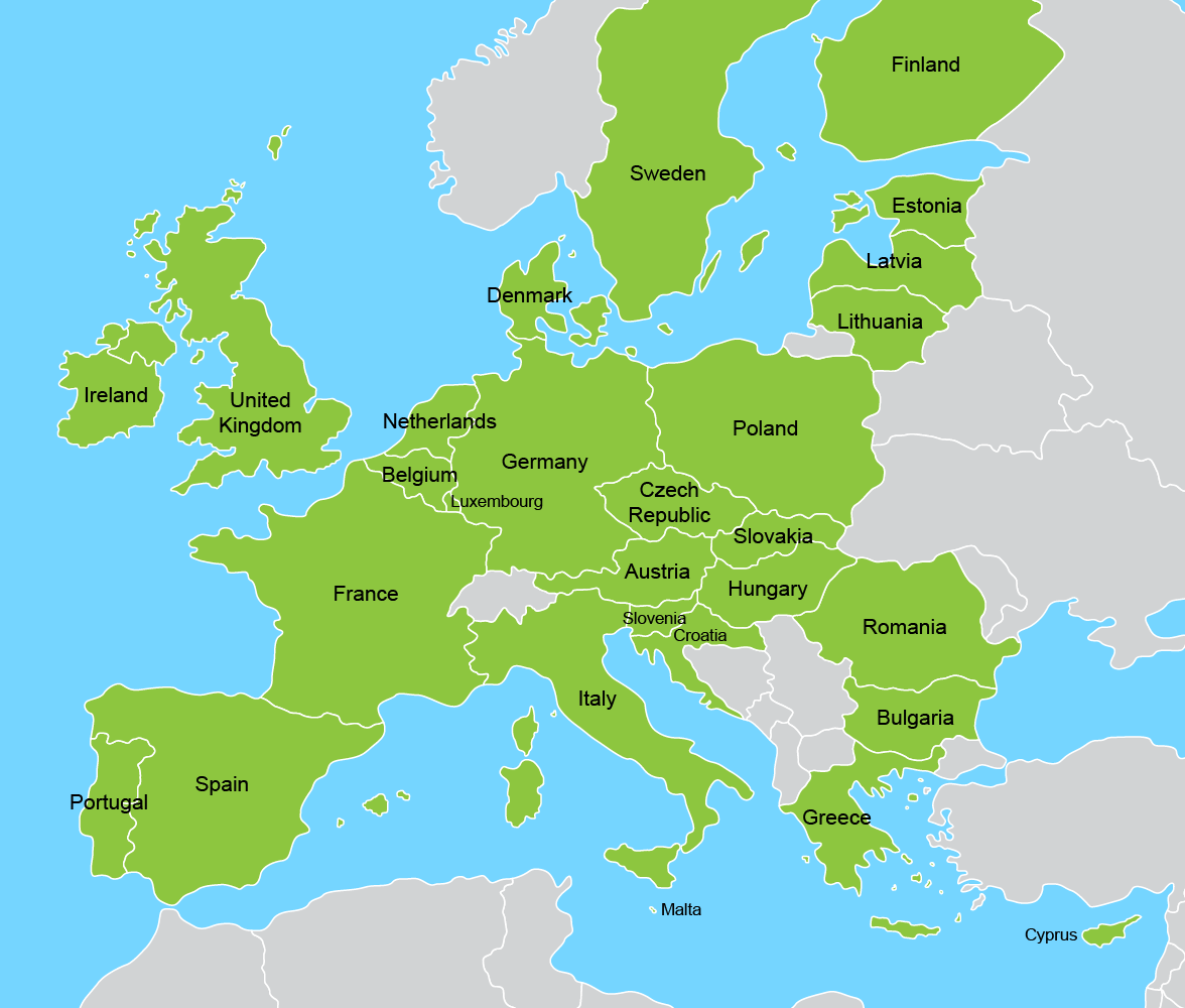 Image of map showing member states of the European Union